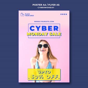 Vertikales plakat für cyber-montag-einkauf