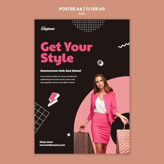 Vertikales plakat für den verkauf mit frau im rosa anzug