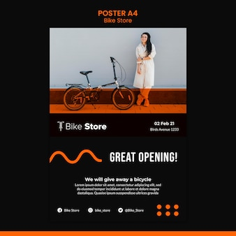 Vertikales plakat für fahrradladen