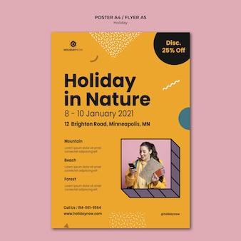 Vertikales plakat für ferien mit weiblichem rucksacktouristen