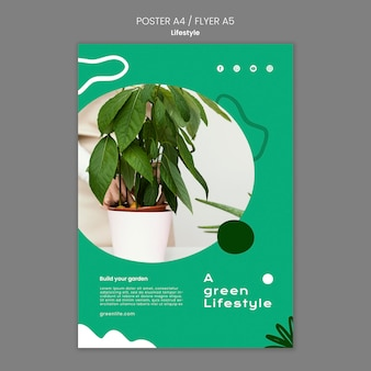 Vertikales plakat für grünen lebensstil mit pflanze