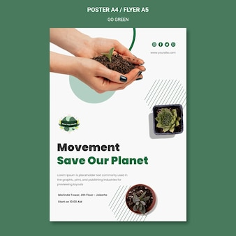 Vertikales plakat für grünes und umweltfreundliches