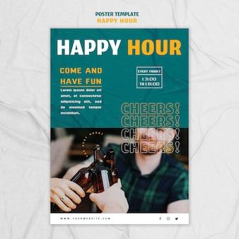 Vertikales plakat für happy hour
