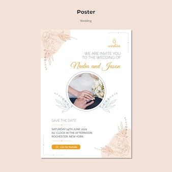 Vertikales plakat für hochzeitszeremonie mit braut und bräutigam