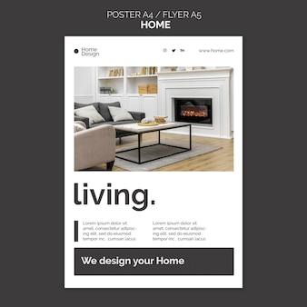 Vertikales plakat für inneneinrichtung mit möbeln