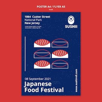 Vertikales plakat für japanisches lebensmittelfestival mit sushi