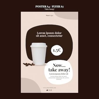 Vertikales plakat für kaffee zum mitnehmen