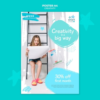 Vertikales plakat für kreative kinder, die spaß haben