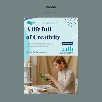 Vertikales plakat für kunst und handwerk