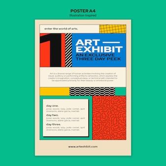 Vertikales plakat für kunstausstellung