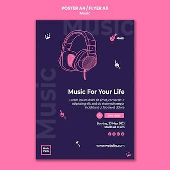 Vertikales plakat für musikparty