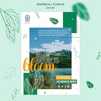 Vertikales plakat für natur mit wilder lebenslandschaft