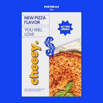 Vertikales plakat für neuen käsigen pizzageschmack