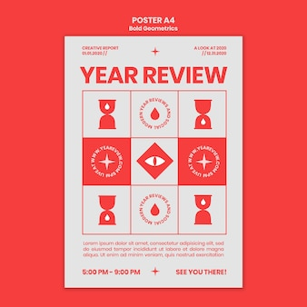 Vertikales plakat für neujahrsrückblick und trends
