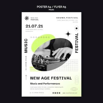 Vertikales plakat für new age musikfestival