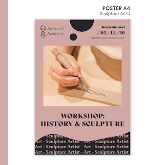 Vertikales plakat für skulpturenwerkstatt