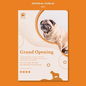 Vertikales plakat für tierhandlung mit hund