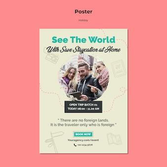 Vertikales plakat für urlaubsreise der virtuellen realität
