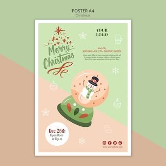 Vertikales plakat für weihnachten mit schneekugel