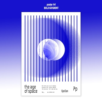 Vertikales plakat im kühnen gefälle mit planet und wissenschaft