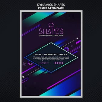 Vertikales plakat mit dynamischen geometrischen neonformen