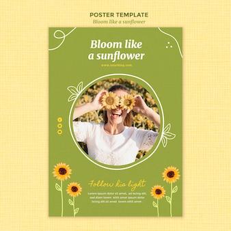 Vertikales plakat mit sonnenblumen und frau