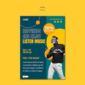 Vertikales plakat zum genießen von musik