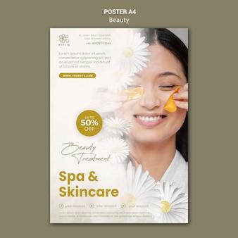 Vertikales poster für beauty und spa mit frau und kamillenblüten