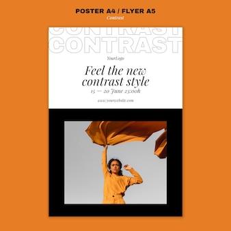 Vertikales poster für kontrastierenden stil