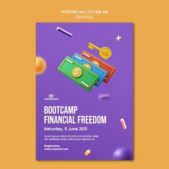 Vertikales poster für online-banking und finanzen