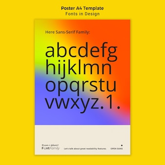 Vertikales poster für schriftarten und design