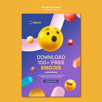 Vertikales poster für social media app emoticons