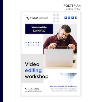 Vertikales poster für videobearbeitungsworkshop