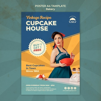 Vertikales poster für vintage-bäckerei mit frau