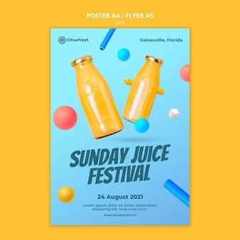 Vertikales poster zum auffrischen von orangensaft in glasflaschen