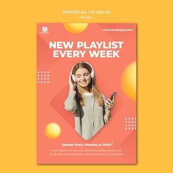 Vertikales poster zum online-streaming von musik mit einer frau mit kopfhörern