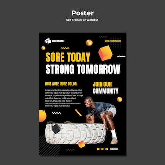 Vertikales poster zum selbsttraining und trainieren