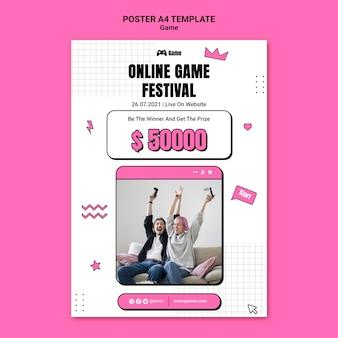 Vertikales poster zum spielen von videospielen