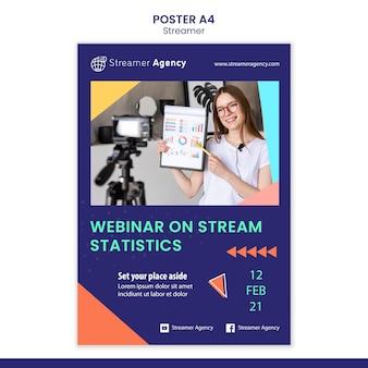 Vertikales poster zum streamen von online-inhalten
