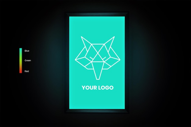 Vertikales quadratisches logo-mockup im raum mit bearbeitbaren farben