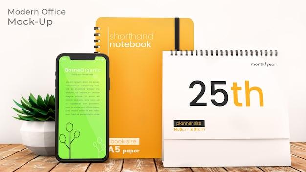 Vervollkommnen sie perfektes modernes büroszenenmodell mit iphone x, notizbuch und tischplattenplaner auf rustikalem holztisch mit psd-modell des büroartikels oben