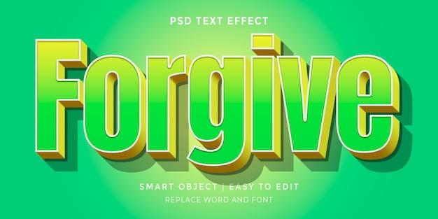 Verzeihen sie den bearbeitbaren texteffekt im 3d-stil