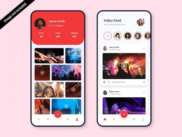 Video social app ui design-vorlage