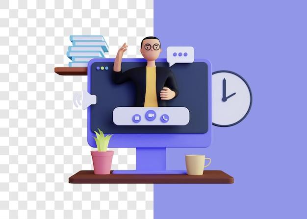 Videoanruf 3d illustrationskonzept