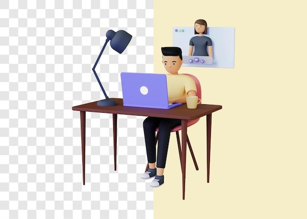 Videoanruf-chat-konferenz des 3d-illustrationskonzepts