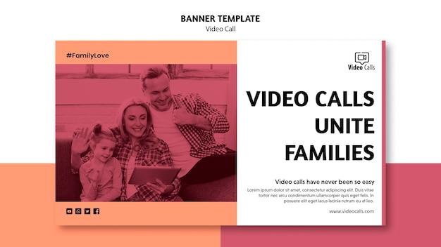 Videoanrufe vereinen familien-banner-vorlage
