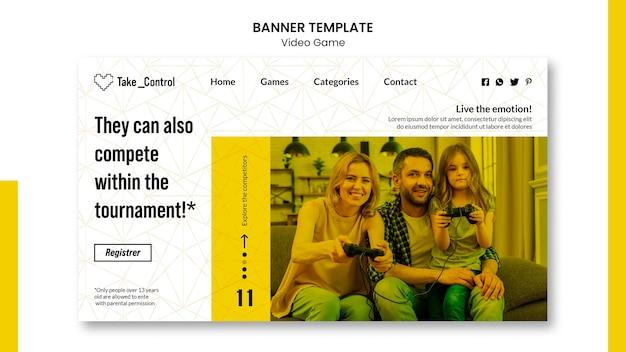 Videospiel banner vorlage design