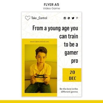 Videospiel flyer vorlage design