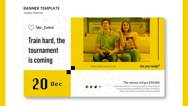 Videospiel-konzept-banner-vorlage