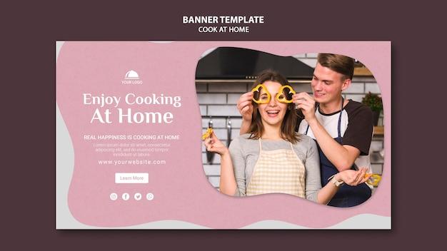 Viel spaß beim kochen zu hause banner vorlage